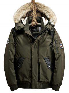 Patch Design Zip Up Detachable Hood Jacket - Army Green M