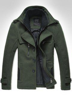 Turndown Collar Rib Panel Zip Up Woolen Jacket - Green M
