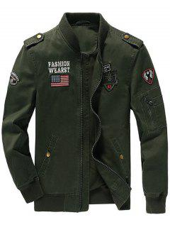 Zip Up Epaulet Design Patched Jacket - Army Green M