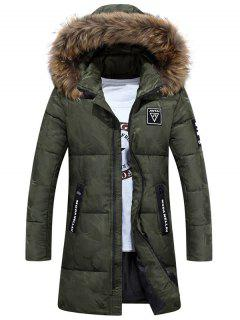 Zip Up Patch Design Hooded Quilted Coat - Army Green Xl