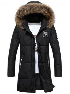 Zip Up Patch Design Hooded Quilted Coat - Black Xl