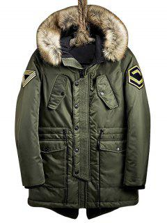 Flap Pockets Patch Design Hooded Parka Coat - Army Green L