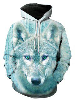 3D Wolf Print Pullover Hoodie - 3xl