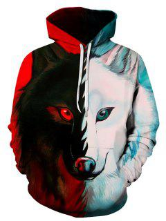 3D Color Block Wolf Print Pullover Hoodie - 3xl