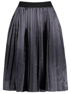Plus Size Pleated Midi Elastic Waist Skirt - Smashing 2xl