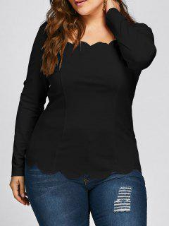 Plus Size Scalloped Square Neck Long Sleeve Top - Black 2xl