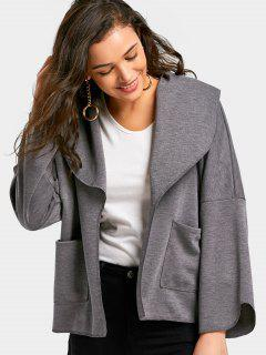 High Low Coat With Pockets - Gray S