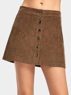 Button Up A Line Mini Skirt - Brown S