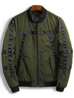 Ribbon Design Zip Up Bomber Jacket - Army Green L