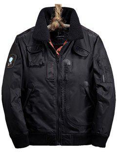 Casual Borg Collar Zip Up Pocket Jacket - Black 2xl