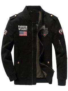 Zip Up Epaulet Design Patched Jacket - Black Xl