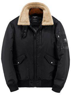 Borg Collar Zip Up Casual Jacket - Black L