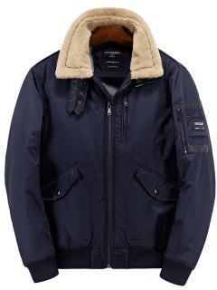 Borg Collar Zip Up Casual Jacket - Purplish Blue L