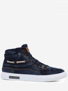 Stitching Denim Letter Skate Shoes - Blue 43
