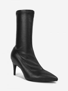 Mid Heel Pointed Toe Mid Calf Boots - Black 35