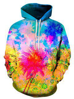 3D Florals Splatter Paint Print Pullover Hoodie - L