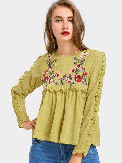 Applique Ruffles Floral Embroidered Blouse - Bluish Yellow L