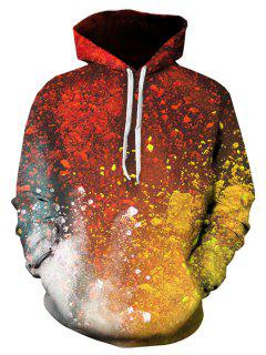 3D Ombre Paint Print Pullover Hoodie - M