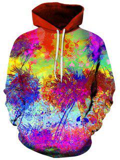 3D Tie Dye Florals Print Pullover Hoodie - L