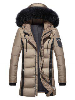 Faux Fur Collar Hooded PU Leather Braid Embellished Padded Coat - Khaki M