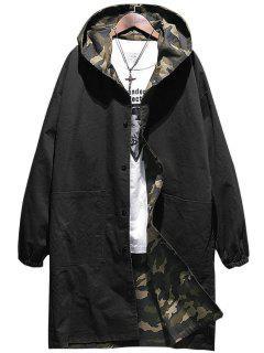 Reversible Stil Mit Kapuze Camouflage Taschen Mantel - Schwarz M