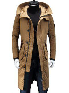 Hooded Zip Pocket Longline Padded Coat - Khaki M