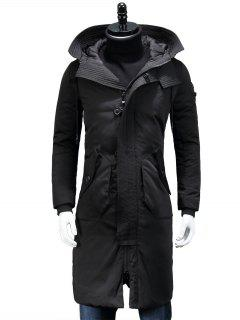 Hooded Zip Pocket Longline Padded Coat - Black M