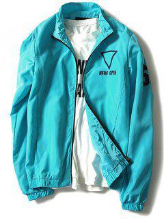 Stand Collar Geometric Graphic Print Windbreaker Jacket - Azure L
