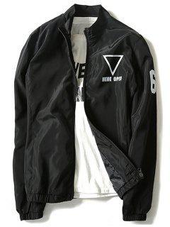 Stand Collar Geometric Graphic Print Windbreaker Jacket - Black Xl