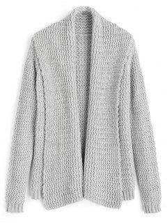 Zig Zag Shawl Collar Open Front Cardigan - Gray
