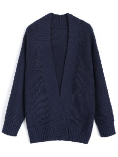 Long Sleeve Open Front Cardigan - Purplish Blue
