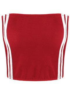 Cropped Striped Tube Top - Red Stripe Xl