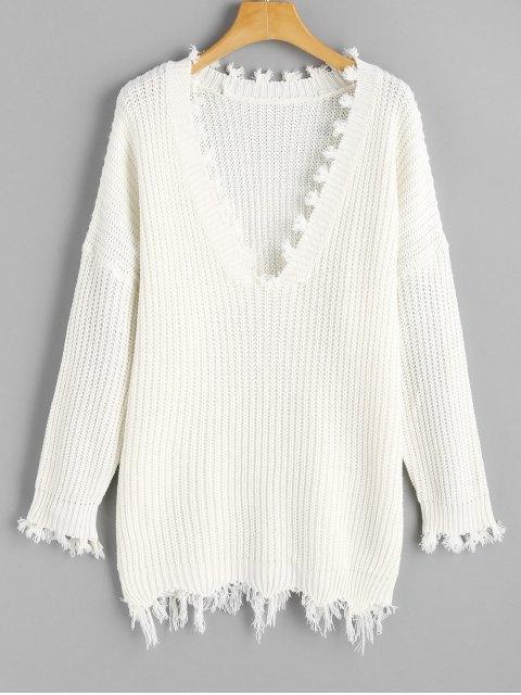ladies Frayed Oversized V Neck Sweater - WHITE ONE SIZE Mobile