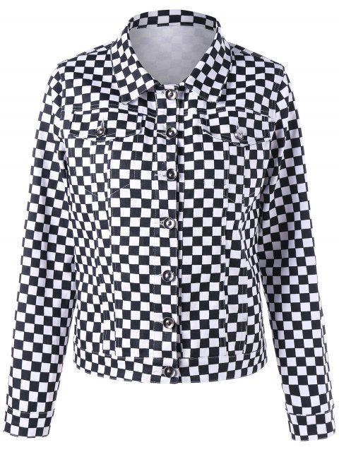 Veste Chemise à Carreaux avec Poches à Rabat - Blanc-Noir S Mobile