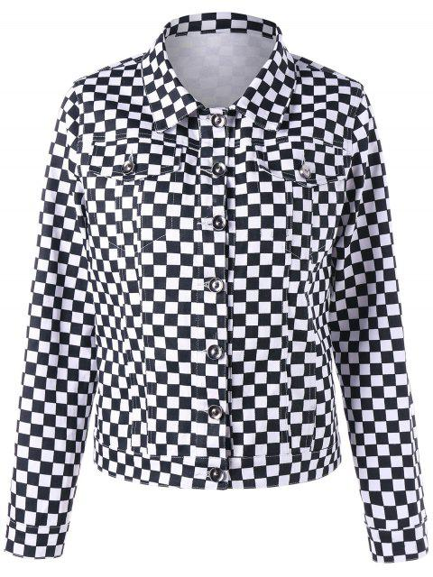 affordable Checkered Flap Pockets Shirt Jacket - BLACK WHITE XL Mobile