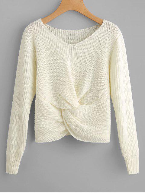 Chunky Pullover mit V-Ausschnitt und Twist - Weiß Eine Größe Mobile