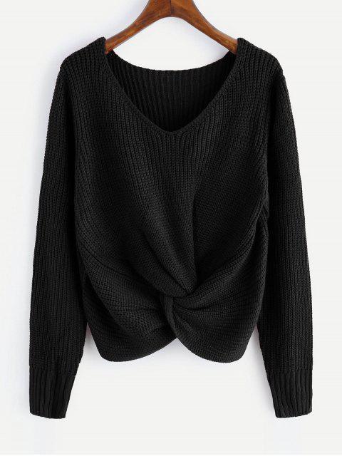 V-Ausschnitt Twist Chunky Pullover - Schwarz Eine Größe Mobile