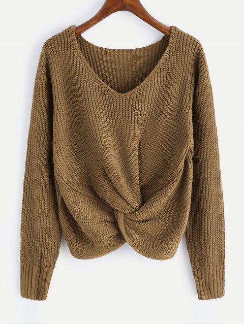 V-Ausschnitt Twist Chunky Pullover - Khaki Eine Größe Mobile
