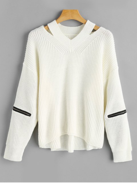 women Zippered Sleeve Oversized Cutout Sweater - WHITE ONE SIZE Mobile