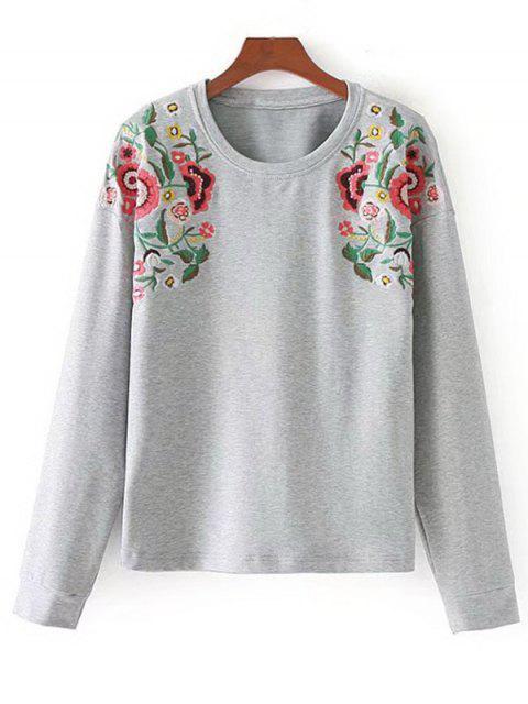 women Sunflower Embroidered Sweatshirt - LIGHT GRAY L Mobile