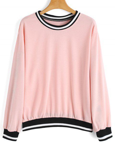 affordable Loose Contrasting Stripes Panel Sweatshirt - PINK L Mobile