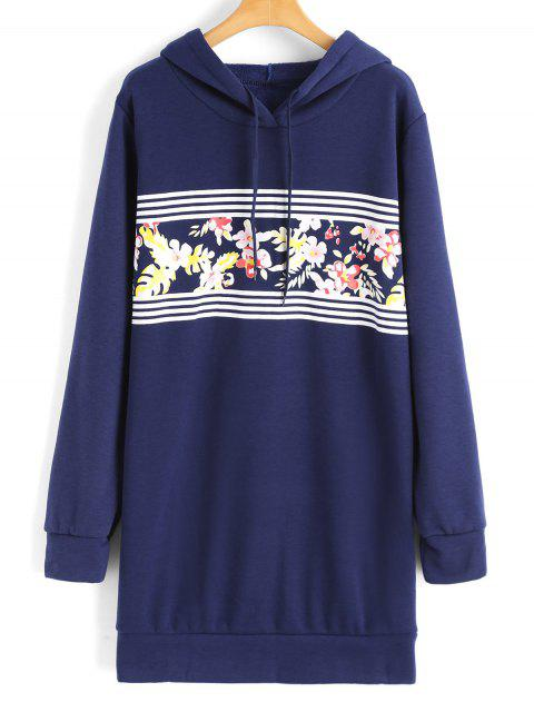 hot Longline Floral Stripes Panel Hoodie - BLUE S Mobile