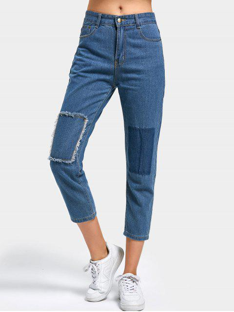 affordable Patch Jeans - DENIM BLUE M Mobile