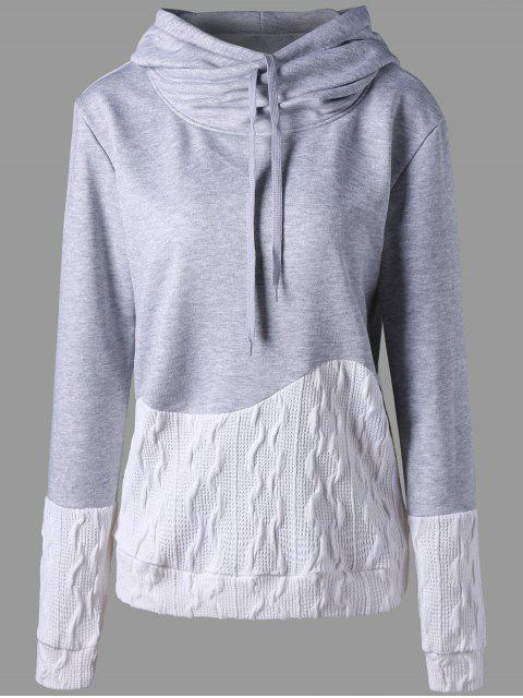 unique Patchwork Drawstring Pullover Hoodie - GRAY XL Mobile