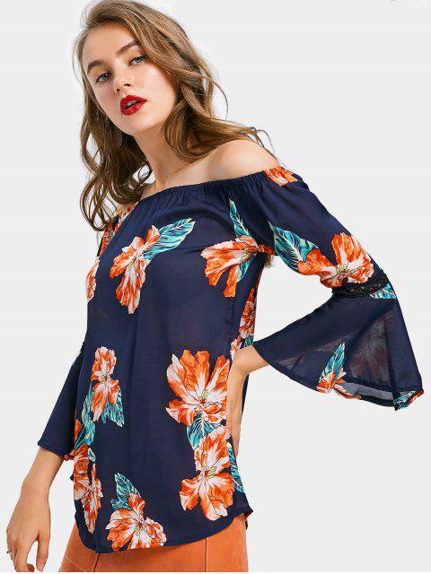 womens Off The Shoulder Floral Print Tunic Top - DEEP BLUE S Mobile