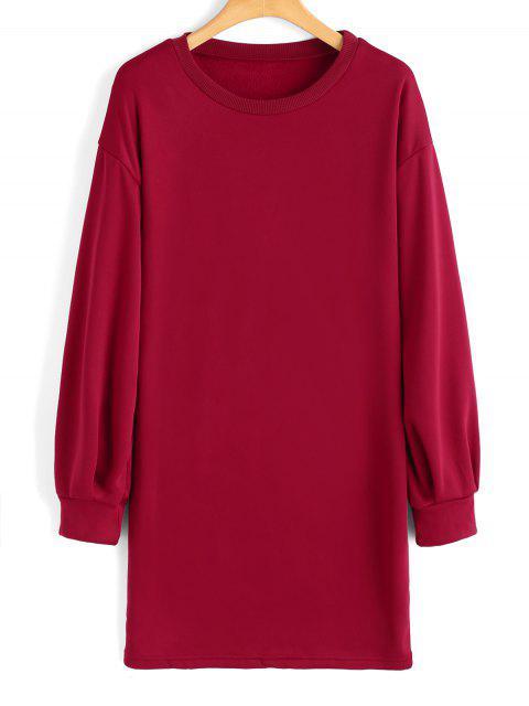 online Long Sleeve Longline Casual Sweatshirt - RED L Mobile