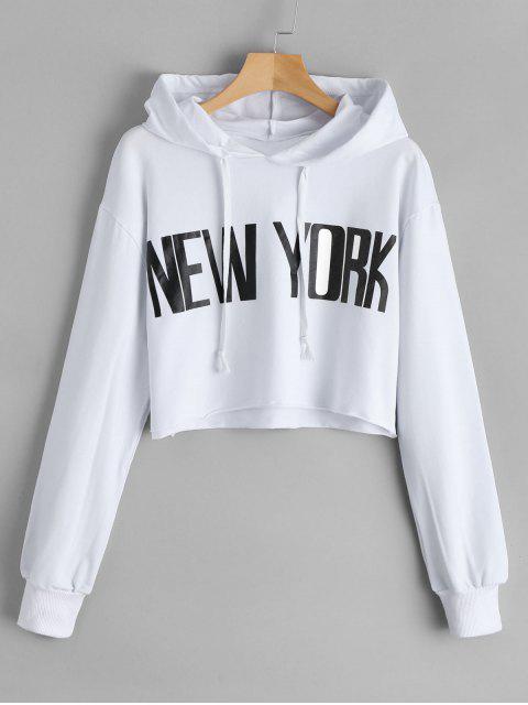 Cropped New York Tunika Hoodie - Weiß S Mobile