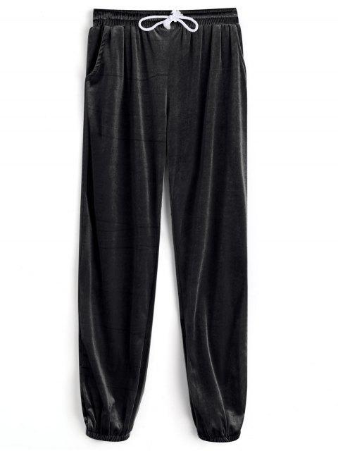Pantalons en Velours avec Cordon de Serrage - Noir S Mobile