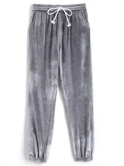 Pantalones de cordón de terciopelo - Gris Claro M Mobile