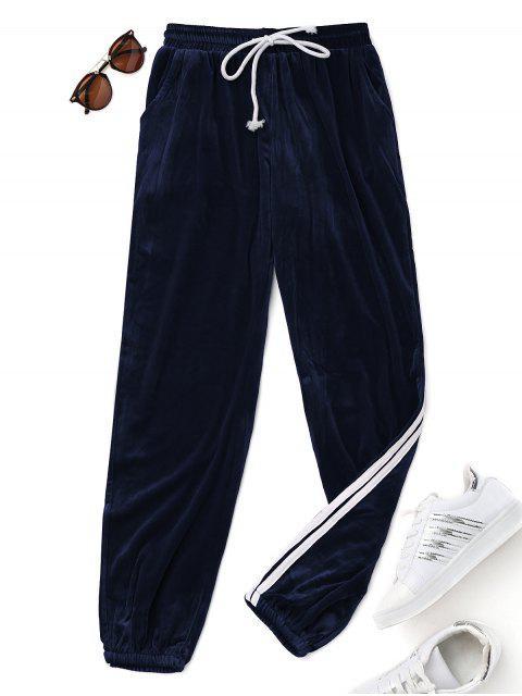 Pantalons en Velours avec Cordon de Serrage - Bleu profond S Mobile